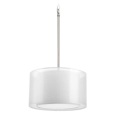 Modern White Nickel Drum Shade Modern Drum Pendant Light With White Null Shade In Brushed