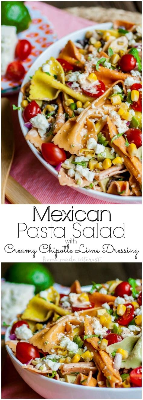 mexican pasta salad with creamy southwestern dressing creamy chipotle lime dressing