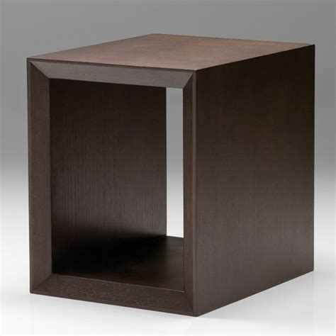 Modern Accent Table Cubic End Table Oak Truffle Modern Side Tables And End Tables By Hayneedle