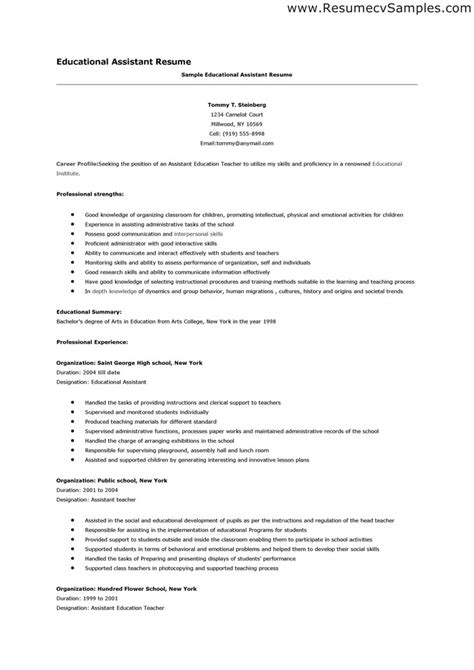 Resume Sles For Teaching Resume For Teaching Assistant