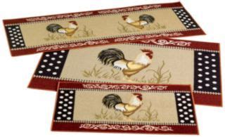 3 kitchen rug set cockadoodle do rooster 3 rug set kitchen ideas products rugs and roosters