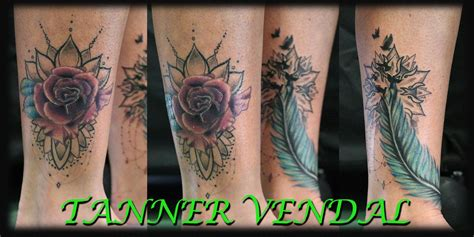 flower tattoo rework coverup rose rework of feather bytannervendal by tanner