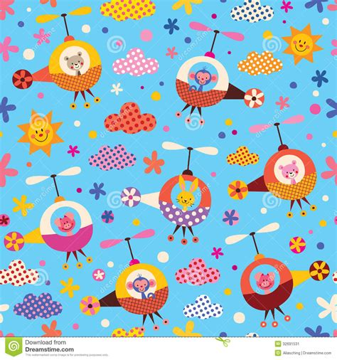 cute kid pattern cute animals in helicopters kids pattern stock image
