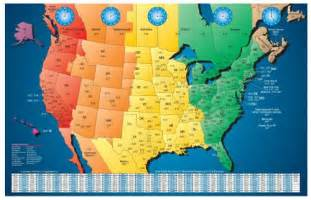 map of area codes and time zones in us america laminated gloss color time zone by