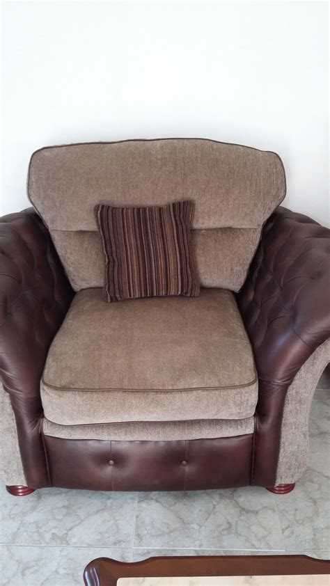 leather settee for sale for sale brown leather and fabric settee 1matching