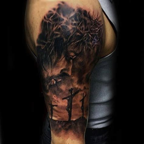 half sleeve religious tattoos for men 100 jesus tattoos for cool savior ink design ideas