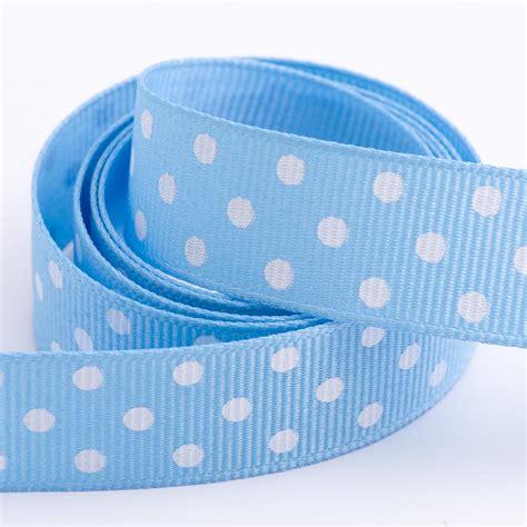 blue polka dot grosgrain ribbon at favour this