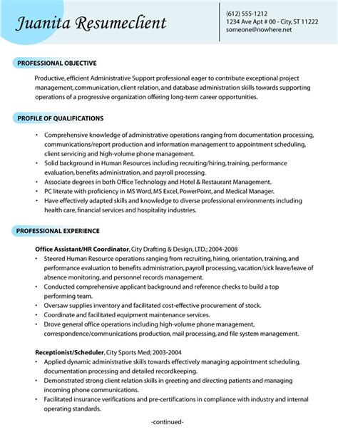 Free Resume Sles For Administrative Support Administrative Support Resume Help