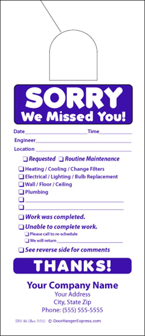 Free Sorry We Missed You Cards Templates by Maintenance Door Hanger Template Image Collections