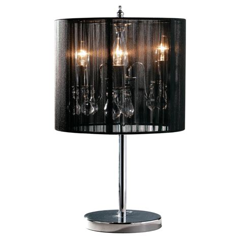 table l shade with crystal droplets calice table l chrome effect with crystal glass