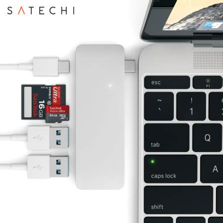 mobile p hub satechi usb c adapter hub with usb charging ports silver
