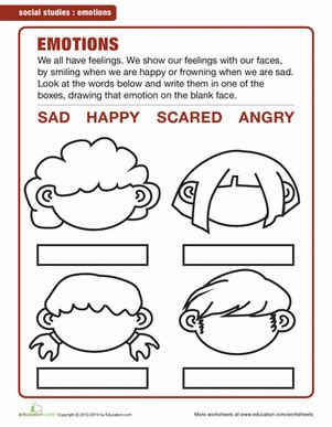 worksheets for preschoolers about feelings understanding feelings worksheet education com