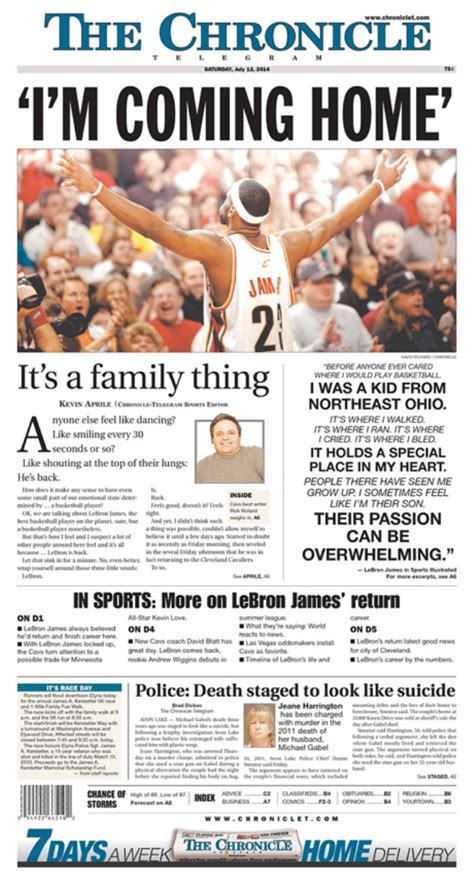 sun journal sports section newspaper front pages get blown out for lebron s return to