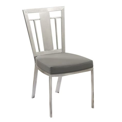 armen living cleo faux leather steel dining chair in gray