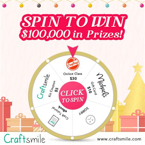 Spin To Win Sweepstakes - craftsmile com spin to win game 100 000 in prizes