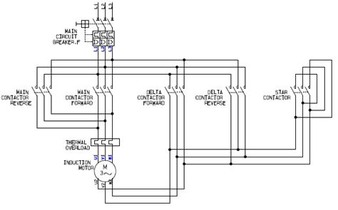 power circuit of a delta or wye delta forward