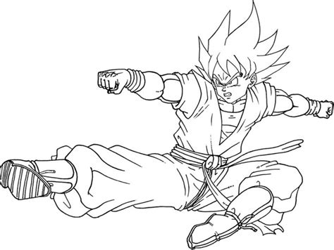 mewarnai gambar goku tokoh utama dalam anime jepang