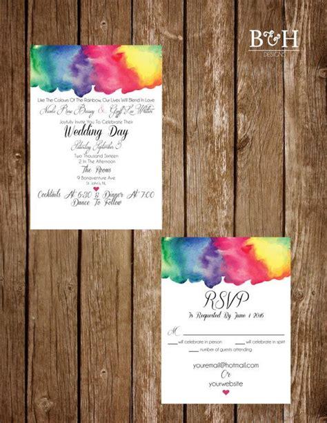 printable custom rainbow watercolour rainbow watercolor bright water color wedding