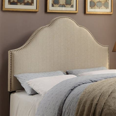 King Fabric Headboards by Pri Glam King Fabric Upholstered Nailhead Headboard In
