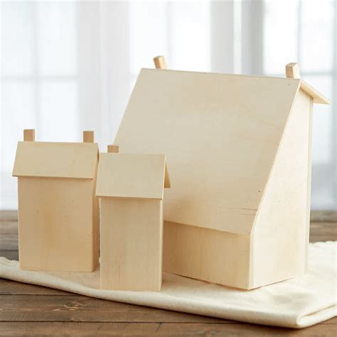 unfinished wood saltbox house set wood miniatures