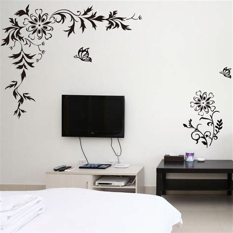 diagonal black butterfly flower vine wall stickers