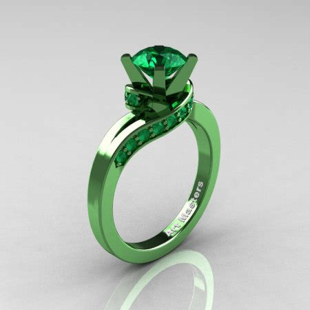 Green Cubic Zirconia 6 707 Ct classic 14k green gold 1 0 ct emerald designer
