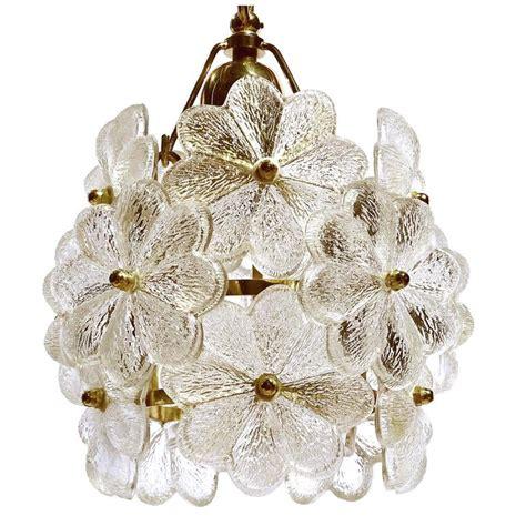 Floral Pendant Light Palwa Glass Flower Pendant Light Brass Ceiling L Floral Modernist 1960 At 1stdibs