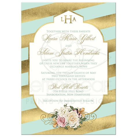 mint green and pink wedding invitations monogrammed wedding invitation mint faux gold scroll stripes vintage and pink roses