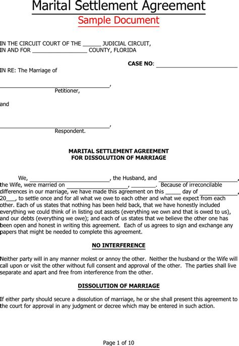 Marital Separation Agreement Template 28 Images Separation Agreement Template Marital Settlement Agreement Template