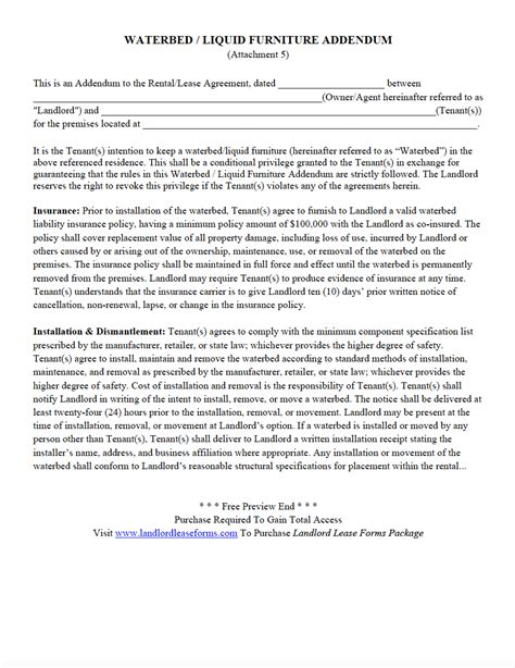 residential rental lease agreement waterbed liquid