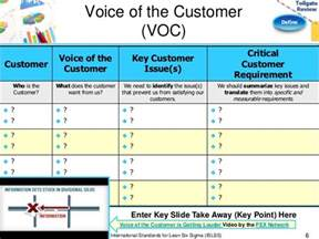 voice of the customer template define phase lean six sigma tollgate template