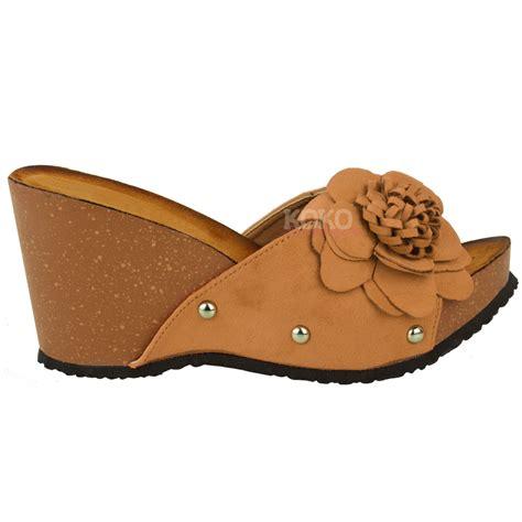 wedge slippers womens womens wedge summer mule sandals slip on cushioned