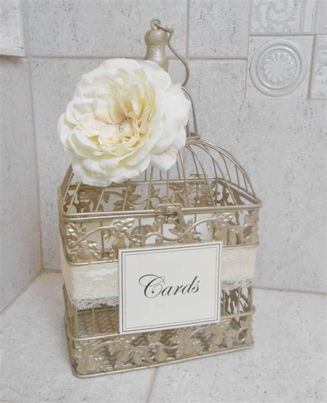 small chagne gold wedding birdcage card holder wedding