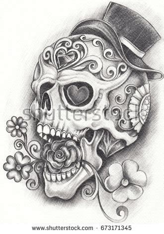 sugar skull day dead hand pencil stock illustration
