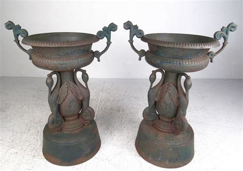 Cast Iron Planters And Urns by Pair Of Vintage Cast Iron Garden Urns For Sale At 1stdibs