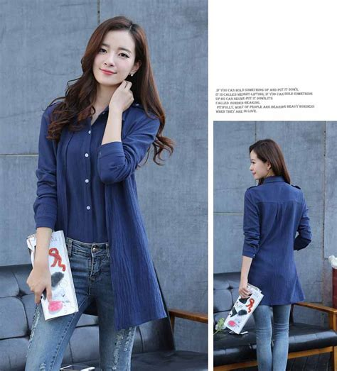 Dress Spandex Korea Cardigan Brukat Biru Navy Ready Stock kemeja warna biru navy simple 2017 myrosefashion