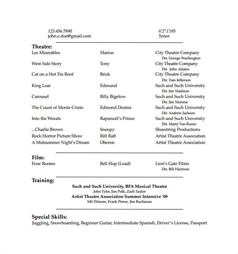 acting resume template free acting resume template 19 in pdf word psd