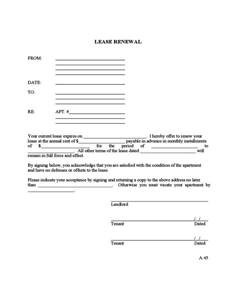 renewal lease agreement template rental renewal template free