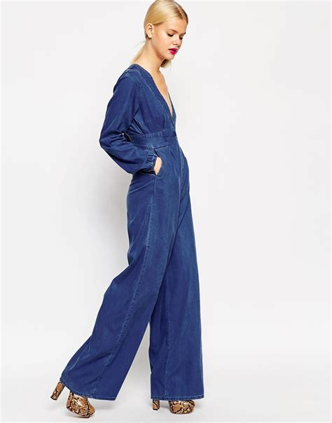 Jumpsuit Dress Pakaian Wanita Jumpsuit lyst asos denim premium jumpsuit in blue