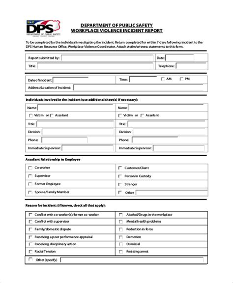 report form template sle incident report form 6 documents in pdf word