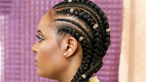 how to cornrow with extensions feed in braids black