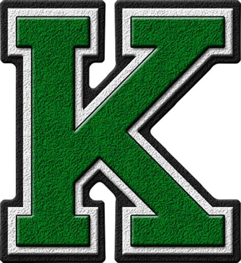 Presentation Alphabets: Green Varsity Letter K