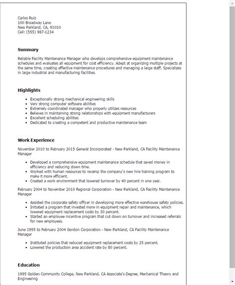 Maintenance Supervisor Resume by Facility Maintenance Manager Resume Template Best Design Tips Myperfectresume