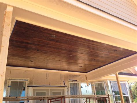 patio ceiling tongue groove wood   dark stain
