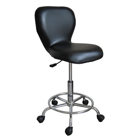 adjustable rolling pneumatic bar stool black
