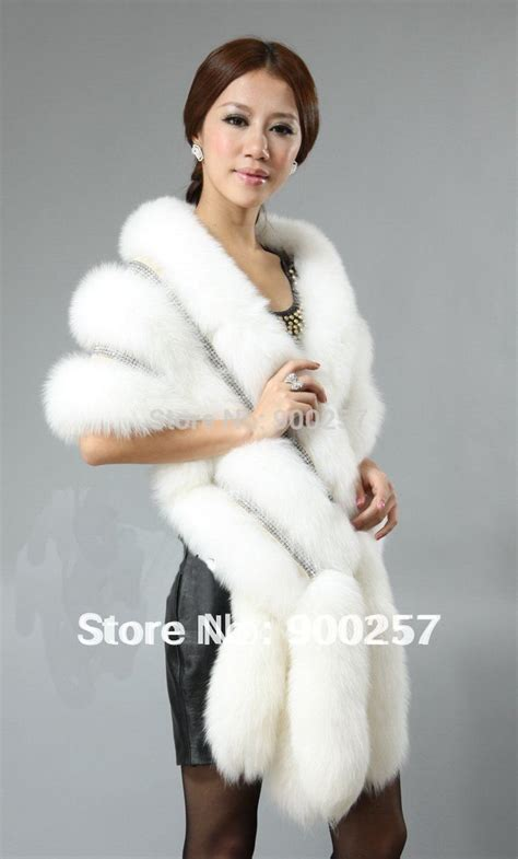 new arrival real fox fur shawl poncho cape stole dress with decoration diamonds 5 colors