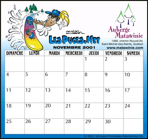 Calendrier Novembre 2001 Calendrier 2016 Calendrier Gratuit Calendrier Imprimer