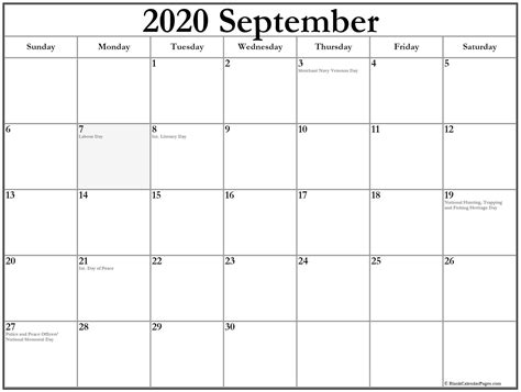 september  calendar  holidays
