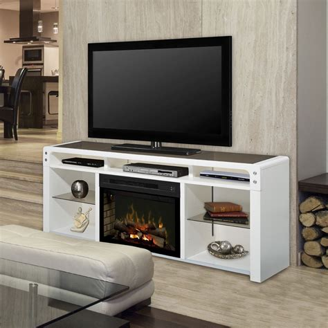 white electric fireplace media console galloway electric fireplace media console w logs in white gds25ld 1434w