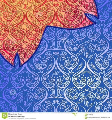 design batik abstract batik abstract blue orange ornament stock illustration